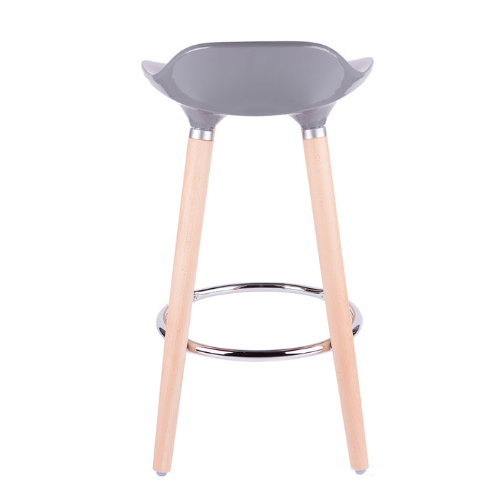 "Vienna 30"" Grey ABS Bar Stool with Natural Wooden Legs - Set of 2"