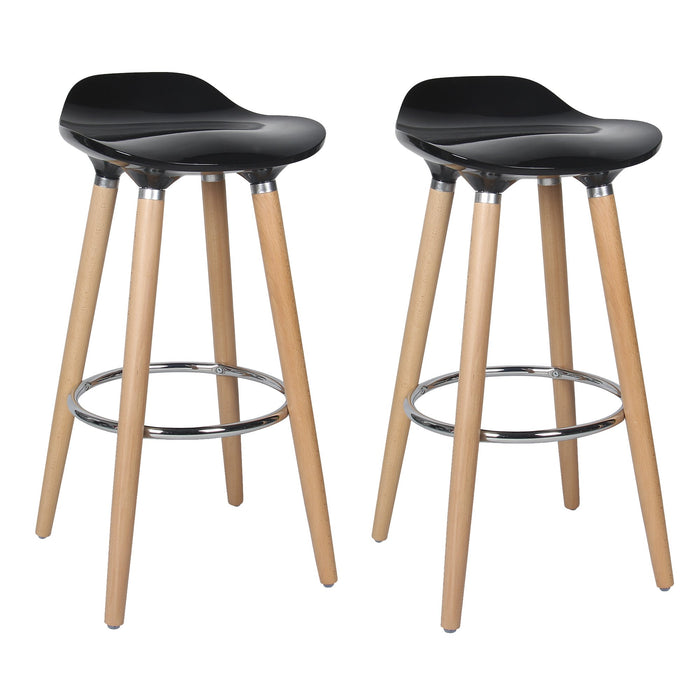 "Vienna 26"" Black ABS Counter Stool with Natural Wooden Legs - Set of 2"