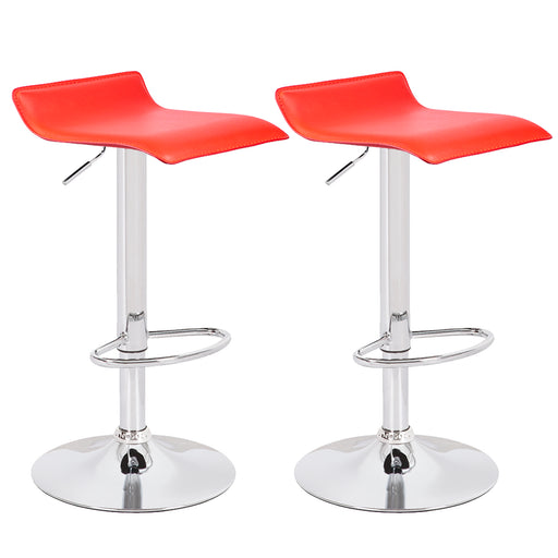 Miranda Swivel Adjustable Height Backless Bar Stool (Red) - Set of 2