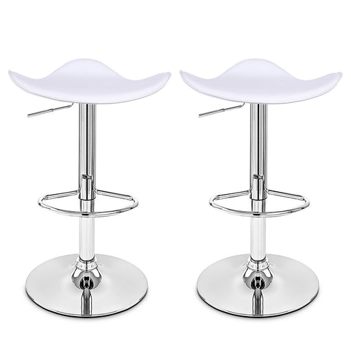 Morgan Swivel Adjustable Height Backless Bar Stool (White) - Set of 2
