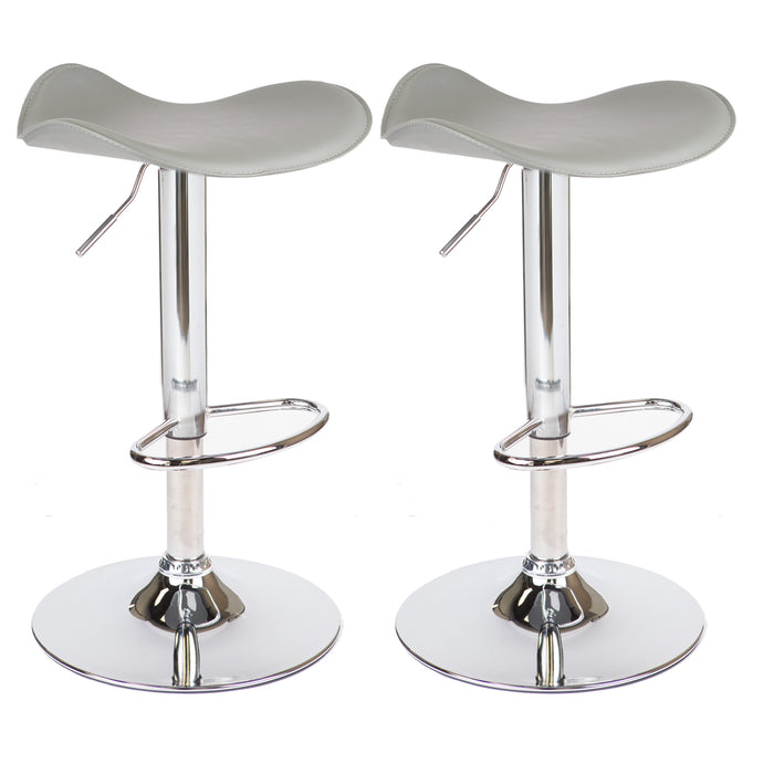 Morgan Swivel Adjustable Height Backless Bar Stool (Gray) - Set of 2