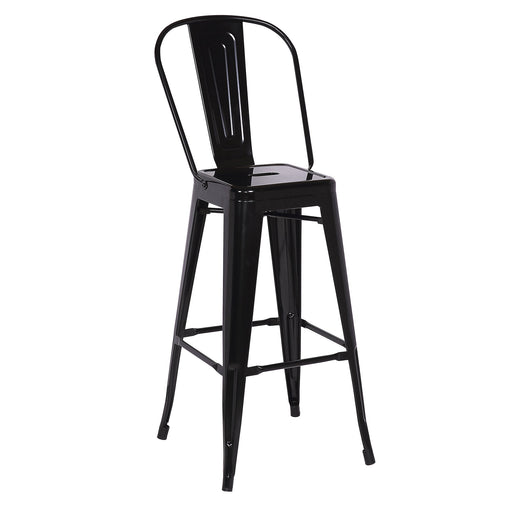 "Bistro Style Metal Bar Stool 30"" in Black Metal Finish  ( SKU: BIC-10-70002-01 )"