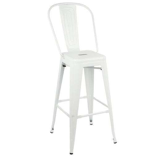 "Bistro Style Metal Bar Stool 30"" in White Metal Finish  ( SKU: BIC-10-70002-08 )"