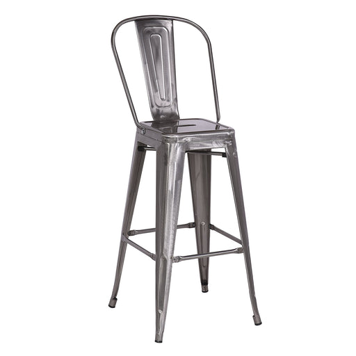 "Bistro Style Metal Bar Stool 30"" in Raw Metal Finish  ( SKU: BIC-10-70002-13 )"