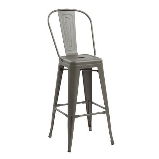 "Bistro Style Metal Bar Stool 30"" in Gun Metal Finish  ( SKU: BIC-10-70002-30 )"