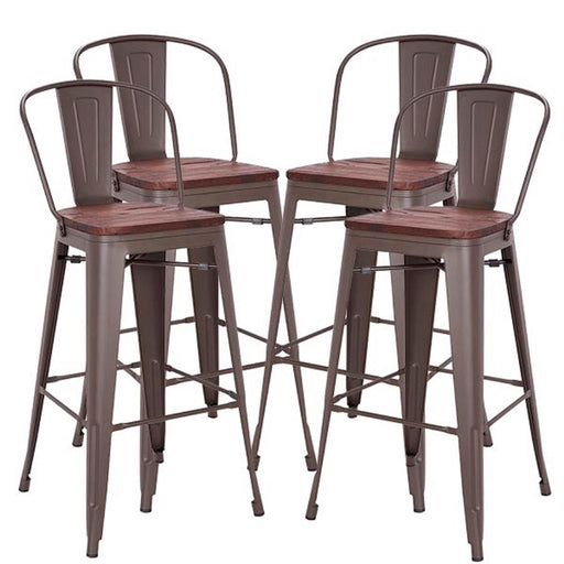 "Burton 30"" Metal Bar Stool with Wooden Seat and Mid-Backrest (Antique Espresso Legs) - Set of 4"