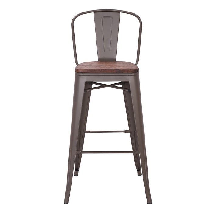 "Bistro Style Metal Bar Stool 30"" in Antique Espresso Finish with Dark Elm Wood Seat ( SKU: BIC-10-70104-50 )"