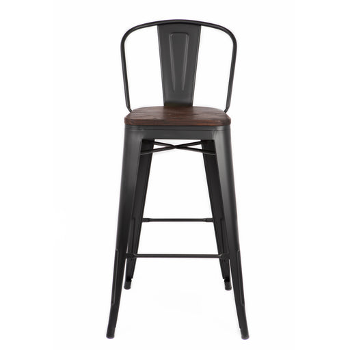 "Bistro Style Metal Bar Stool 30"" in Matte Black Finish with Dark Elm Wood Seat ( SKU: BIC-10-70104-80 )"