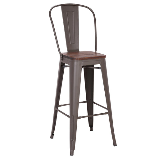 "Bistro Style Metal Bar Stool 30"" in Antique Espresso Finish with Dark Elm Wood Seat ( SKU: BIC-10-70112-50 )"