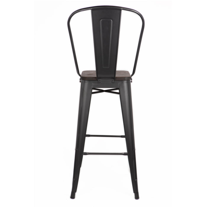 "Bistro Style Metal Bar Stool 30"" in Matte Black Finish with Dark Elm Wood Seat ( SKU: BIC-10-70112-80 )"