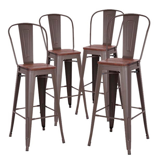 "Axent 30"" Metal Bar Stool with Wooden Seat and High Backrest (Antique Espresso Legs) - Set of 4"
