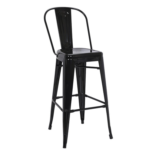 "Bistro Style Metal Bar Stool 30"" in Black Finish  ( SKU: BIC-10-70130-01 )"