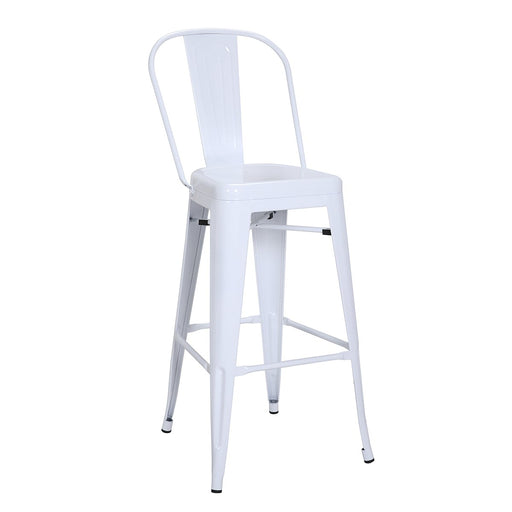 "Bistro Style Metal Bar Stool 30"" in White Finish  ( SKU: BIC-10-70130-08 )"