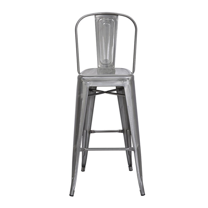 "Bistro Style Metal Bar Stool 30"" in Polished Gun Metal Finish  ( SKU: BIC-10-70130-13 )"
