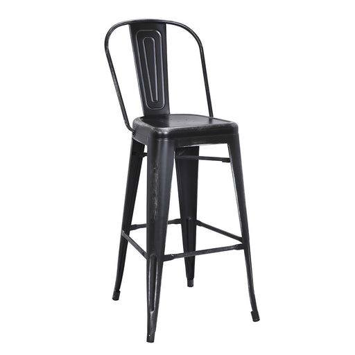 "Bistro Style Metal Bar Stool 30"" in Distressed Black Finish  ( SKU: BIC-10-70130-40 )"