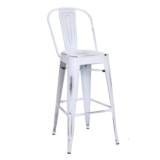 "Bistro Style Metal Bar Stool 30"" in Distressed White Finish  ( SKU: BIC-10-70130-42 )"