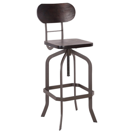 Clarkson Metal Swivel Adjustable Bar Stool with Dark Walnut Seat - 1 Unit