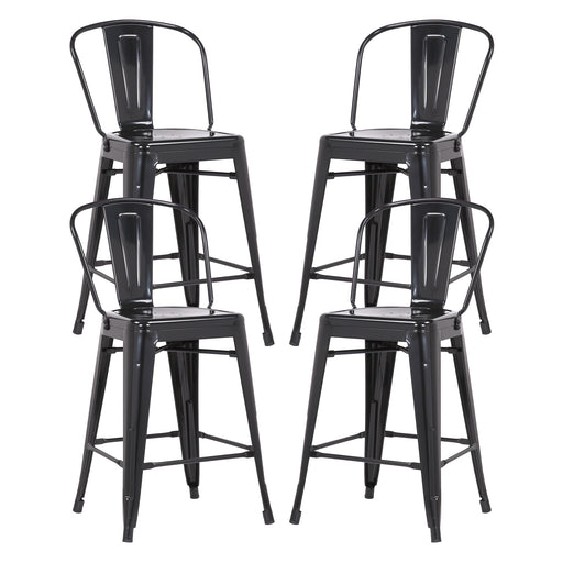 "Allison 24"" Metal Counter Stool with Mid-Backrest (Glossy Black) - Set of 4"