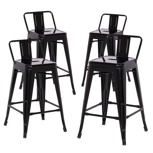 "Trent 24"" Metal Counter Stools Tolix Style with Low Backrest - Black - Set of 4"