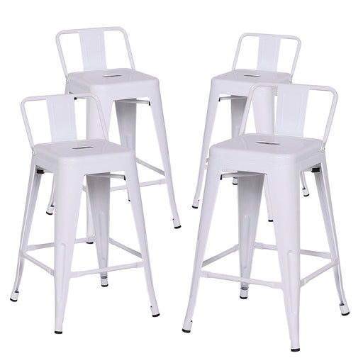"Trent 24"" Metal Counter Stools Tolix Style with Low Backrest - White - Set of 4"