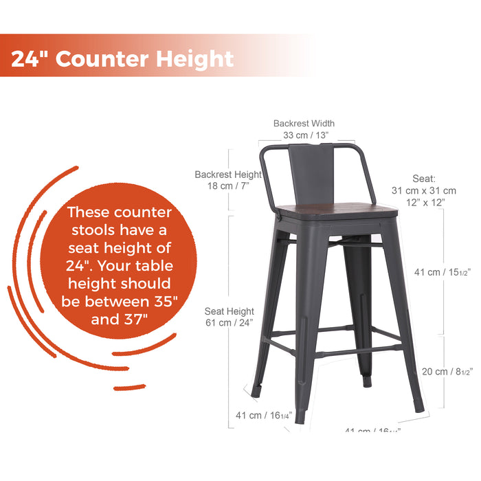 "Eddison 24"" Metal Counter Stools Tolix Style with Low Backrest (Matte Black) - Set of 4"