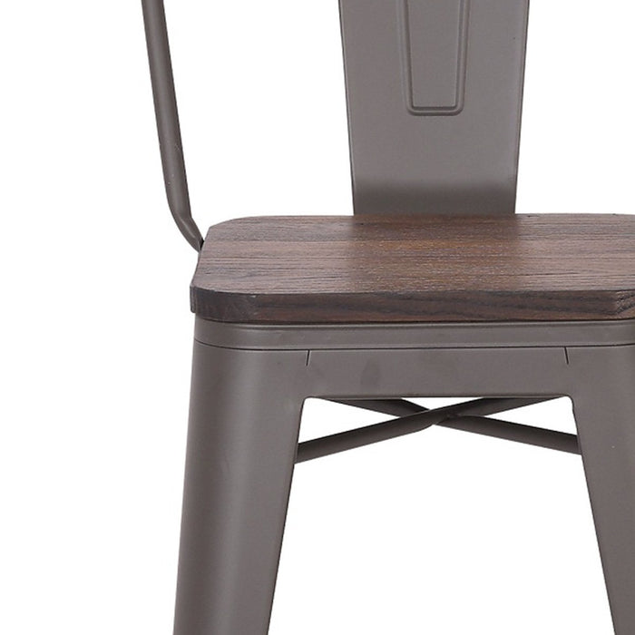 "Axent Metal Bar Stool 24"" In Antique Espresso finish with Dark Walnut Wood Seat (BIC-10-70612-50"