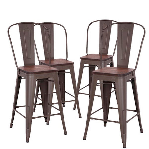 "Axent 24"" Metal Counter Stool with Dark Walnut Wood Seat - Antique Espresso - Set of 4"