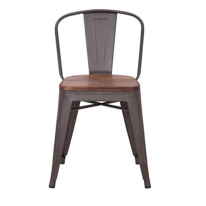 Bistro Style Metal Chair in Antique Espresso Finish with Wood Seat ( SKU: BIC-10-70804-50)
