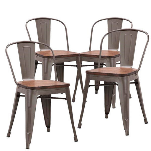 Burton Metal Dining Chair with Antique Espresso Legs and Wooden Seat - Set of 4