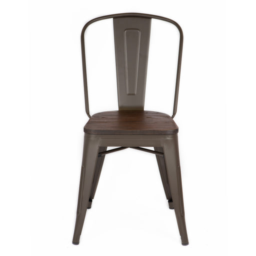 Bistro Style Metal Chair in Antique Espresso Finish with Wood Seat ( SKU: BIC-10-70830-50)
