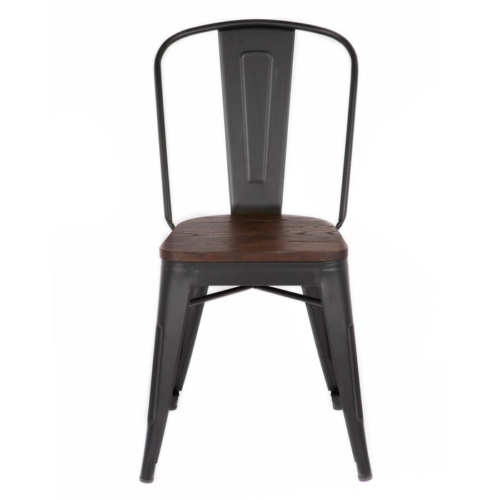 Bistro Style Metal Chair in Matte Black Finish with Wood Seat ( SKU: BIC-10-70830-80)