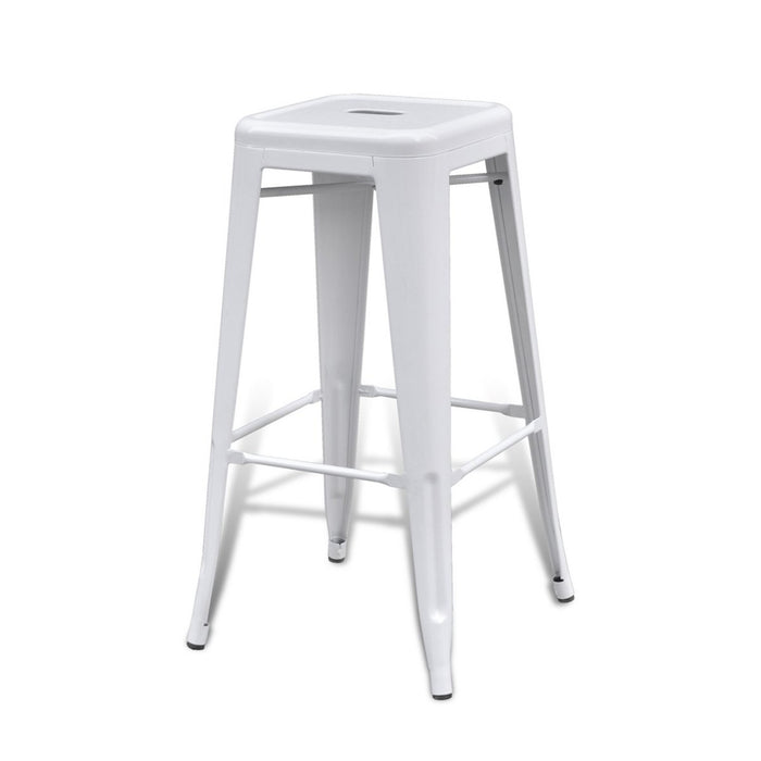 "Backless Bistro Style Metal Bar Stool 30"" in White Finish ( SKU: BIC-10-72002-08 )"