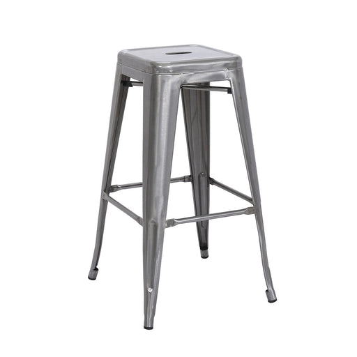 "Backless Bistro Style Metal Bar Stool 30"" in Raw Metal Finish ( SKU: BIC-10-72002-13 )"