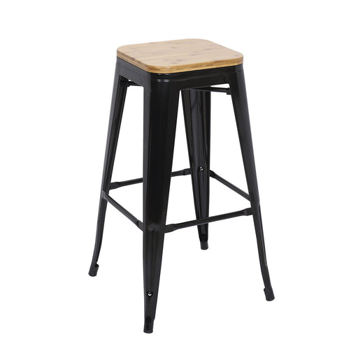 "Bistro Style Metal Bar Stool 30"" in Black Finish with Wood Seat ( SKU: BIC-10-72102-01-1401 )"