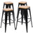 "Falcon 30"" Metal Bar Stools Backless Tolix Style - Black with Natural Wooden Seat - Set of 4"