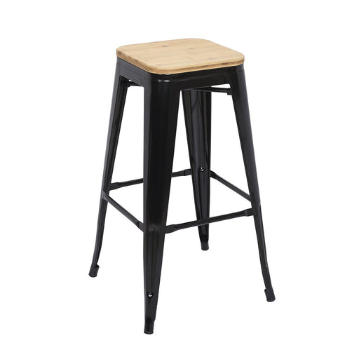 "Bistro Style Metal Bar Stool 30"" in Black Finish with Light Wood Seat ( SKU: BIC-10-72102-01-1402 )"