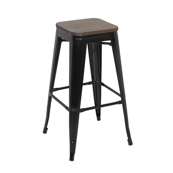 "Bistro Style Metal Bar Stool 30"" in Black Finish with Dark Elm Wood Seat ( SKU: BIC-10-72102-01-1410 )"
