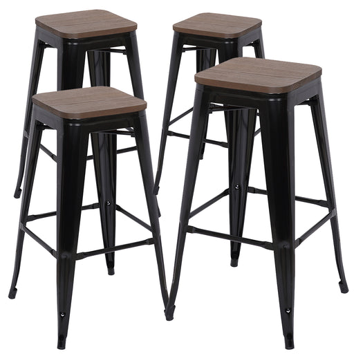 "Falcon 30"" Metal Bar Stools Backless Tolix Style - Black with Dark Elm Wood Seat - Set of 4"