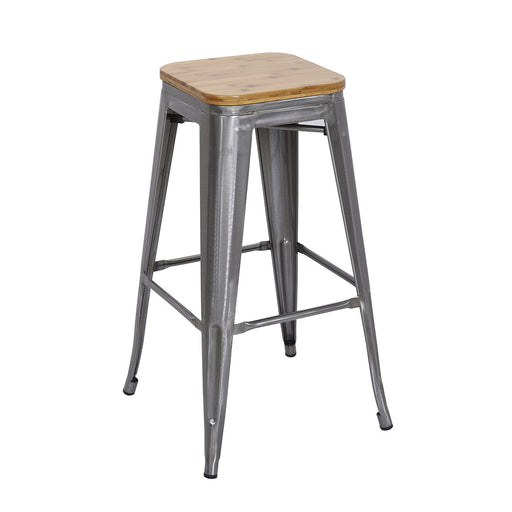 "Backless Polished Gun Metal Bar Stool 30"" with Wood Seat ( BIC-10-72102-13-1401 )"