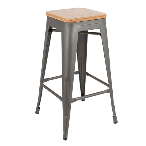 "Backless Gun Metal Bar Stool 30"" with Natural Wood Seat ( BIC-10-72102-30-1401 )"