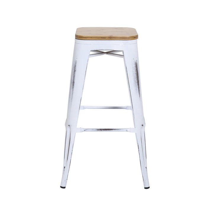 Pleasing Backless Distressed White Metal Bar Stool 30 With Wood Seat Bic 10 72102 42 1401 Short Links Chair Design For Home Short Linksinfo