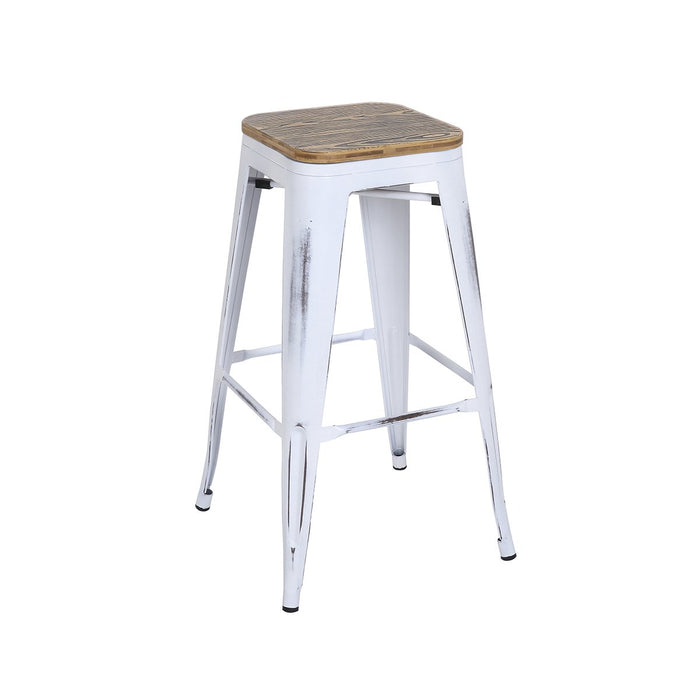 Enjoyable Backless Distressed White Metal Bar Stool 30 With Zebra Wood Seat Bic 10 72102 42 1403 Short Links Chair Design For Home Short Linksinfo