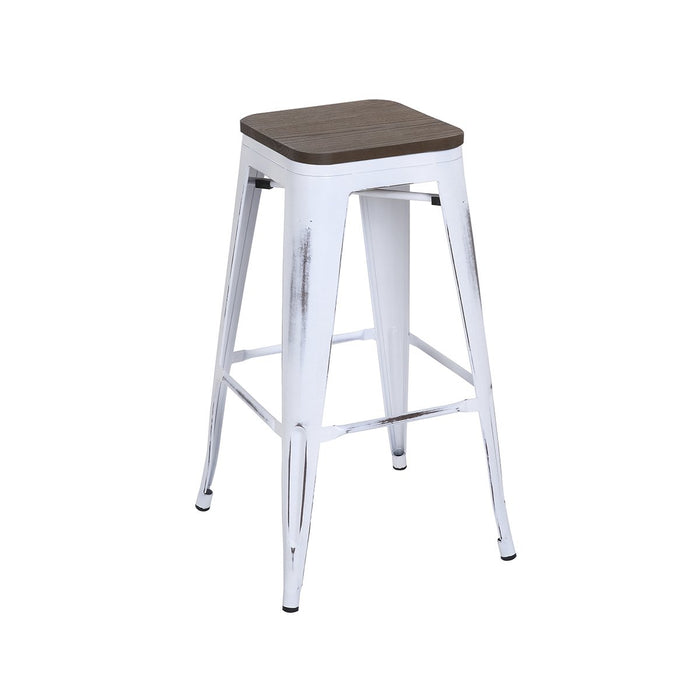 Admirable Backless Distressed White Metal Bar Stool 30 With Dark Elm Wood Seat Bic 10 72102 42 1410 Short Links Chair Design For Home Short Linksinfo