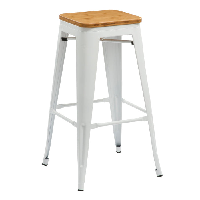 Super Backless White Metal Bar Stool 30 With Wood Seat Bic 10 72102 60 Gmtry Best Dining Table And Chair Ideas Images Gmtryco