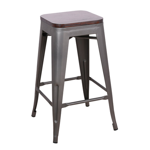 "Backless Bistro Style Metal Bar Stool 24"" in Gun Metal Finish with Wood Top ( SKU: BIC-10-72520-30-1412 )"