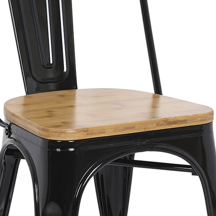 "Bistro Style Metal Chair 18"" in Black Finish with Wood Seat ( SKU: BIC-10-80120-01-1401)"