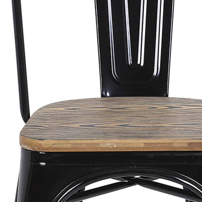 "Bistro Style Metal Chair 18"" in Black Finish with Zebra Wood Seat ( SKU: BIC-10-80120-01-1403)"