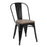 "Bistro Style Metal Chair 18"" in Black Finish with Dark Wood Seat ( SKU: BIC-10-80120-01-1407)"