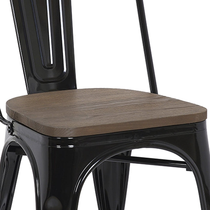 "Bistro Style Metal Chair 18"" in Black Finish with Wood Seat ( SKU: BIC-10-80120-01-1410 )"