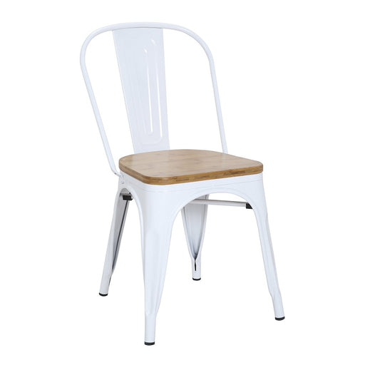 "Bistro Style Metal Chair 18"" in White Finish with Wood Seat ( SKU: BIC-10-80120-08-1401)"